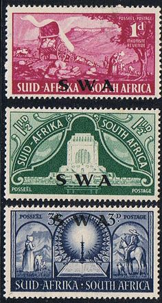 South West Africa 1949 Vorttrekker Set Fine Mint SG 141 3 Scott 163 5 Other British Commonwealth Empire and Colonial stamps Here Out Of Africa, West Africa, South Africa, Africa Flag, Vintage Stamps, African History, Fauna, Mail Art, Stamp Collecting