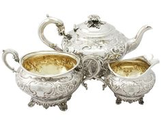Antique George III Sterling Silver Three Piece Tea Service. Excellent condition. British. Circa 1802