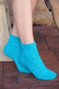 These ankle-height crochet socks are soft and squishy, with a bit of texture for interest.