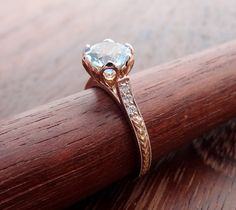 Vintage / Antique Style Tulip Petal Setting Natural Light Blue Aquamarine with Diamonds Engraved Carved Engagement Ring 14k Rose /Pink Gold