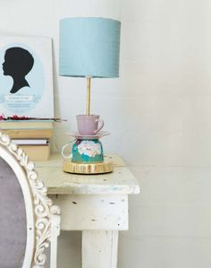 "Reading lamp using old ""battered"" & rusted tin coffee mugs or  bone china cups with SA (wind pumps or proteas) designs..."