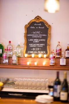 wedding bar sign, chalkboard bar menu  from winter vintage glamour wedding at Stevenson Ridge with Stephanie Messick Photography