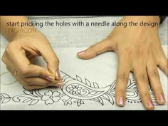 Tracing/transfering a design on the fabric - YouTube