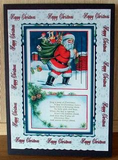 christmas santa and verse on Craftsuprint designed by Cynthia Berridge - made by Cheryl French - Printed onto glossy photo paper. Attached base image to card stock using ds tape. Built up image with 1mm foam pads. - Now available for download!