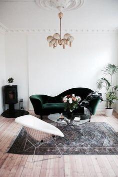 My Scandinavian Home: The Relaxed Norwegian Home Of Maja Hattvang, Green  Velvet Sofa, Emerald Green Velvet Sofa, Minimalistic Living Room Décor,