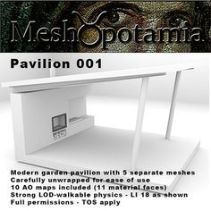 Modern garden pavilion with 5 separate meshes for optimal physics and land impact. Garden Pavilion, Entryway Tables, Modern, Furniture, Home Decor, Trendy Tree, Decoration Home, Room Decor, Home Furnishings