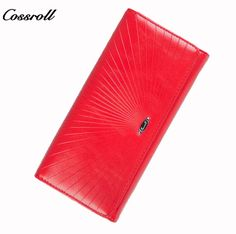 2f7022953753 COSSROLL 2017 Fashion Genuine Leather Women s Purses Bifold Long Lady  Clutch with Hasp and Zipper Wallet