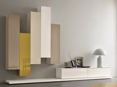 Sectional lacquered storage wall SLIM 5 by Dall'Agnese design Imago Design, Massimo Rosa Living Room Tv Unit, Home Living Room, Living Room Designs, Home Decor Furniture, Furniture Design, Tv Wanddekor, Tv Wall Decor, Deco Design, Wall Design