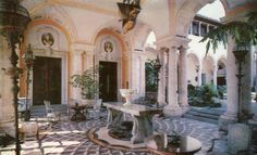 Vintage Postcard - Vizcaya at Dade County Art Museum, Miami, Florida. The East Loggia and a glimpse of the courtyard. Litho by the Franklin Press, Inc. Rudi Rada