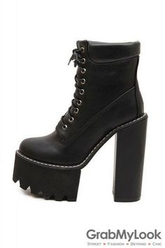 Black Brown Leather Lace Up Platforms Chunky Sole Heels Ankle Military Women Boots Shoes