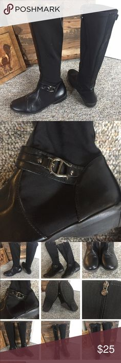 """Etienne Aigne  Black Micro Stretch Nylon  Boots Etienne Aigne SIZE 7.5 Side Zipper Black   Micro Stretch Mesh/nylon  Boots 14"""" calf  15"""" tall  These boots are very nice  They have a stretch nylon with leather toe heel  & strip going up the back  A band across top of the foot  these are all man-made materials  rubber soles  All items are from smoke free environment Etienne Aigner Shoes Over the Knee Boots"""