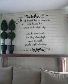 And He Took Her In His Arms and Kissed Her Under the Sunlit Sky J.R.R. Tolkien Quote Romantic Couple's Bedroom Vinyl Wall Art Decal on Etsy, $28.00