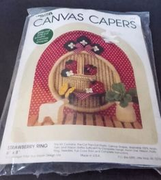 Vtg Canvas Capers Strawberry Ring Kit Rustic Farmhouse Country Craft Project #LeisureArts