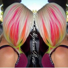 mermaid hair technique - this works under the main(natural) hair color, peeking out never fully revealing. Blonde with neon pink, orange, yellow, and green. New Hair Colors, Cool Hair Color, Punk Hair Color, Under Hair Color, Pelo Multicolor, Neon Hair, Ombré Hair, Platinum Hair, Bright Hair