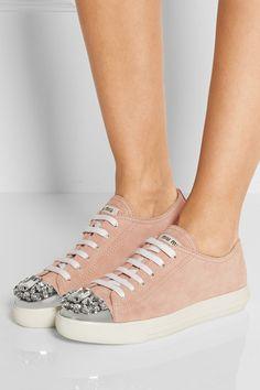 Miu Miu | Crystal-embellished suede sneakers | NET-A-PORTER.COM