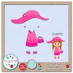 Pretty Paper, Pretty Ribbons Dress Up Girl Pink Dress Cutting Files