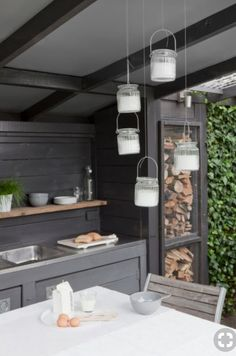 Love the wood storage in this outdoor kitchen by Langius Design Kitchen Decor, Kitchen Inspirations, Outdoor Rooms, Outdoor Kitchen Design, Kitchen, Kitchen Design, Outdoor Kitchen, Kitchen Remodel, Kitchen Renovation