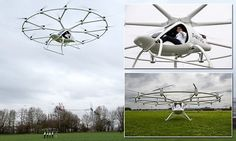 """#DailyMailUK ..... """"Volocopter VC200 received permit-to-fly in February 2016, and has now been flown by a pilot for the first time.. Took to the skies for a 3 minute flight  and traveled 20 to 25 meters in sky.. It has automatic altitude control, and can hover without being controlled making it as easy to control as a car.. Several manufacturers are working on similar craft - some that can fly themselves to create 'air taxis'.""""…"""