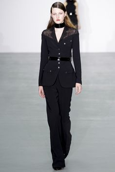 Gothic meets the Power Suit in this number by Antonio Berardi Fall 2016 Ready-to-Wear Fashion Show   Jasmine Lilee Stylist (Photo: Marcus Tondo / Indigital.tv)