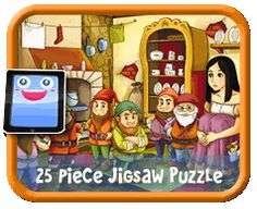 Snow White and the Seven Dwarfs - 25 Piece Online jigsaw puzzle for kids