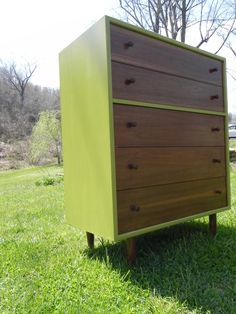 Great idea for painting a vintage dresser-love this way this looks. Awesome for a mid-century piece