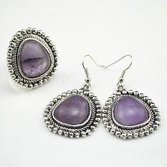 toonykelly millésime pierre look antique multicolore d'argent (anneau réglable et boucle d'oreille) ensemble de bijoux – EUR € 8.27