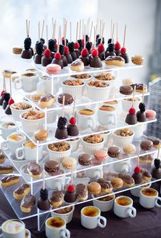 Brides.com: . A stacked holiday dessert stand with chocolate truffles, French macarons, and crème brûlée.