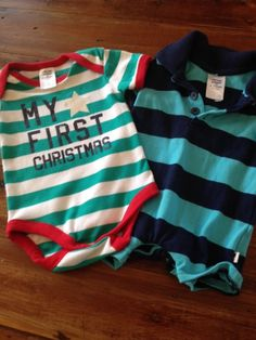 2 X Baby Boy Rompers Polo Strip + First Christmas Size 000 Brand New Without Tag