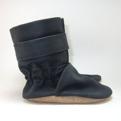Soft Sole Black Leather Baby Boots