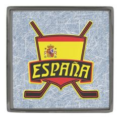 Spain Spanish Hockey Sobre Hielo Lapel Pin. Custom made stylish lapel pin, available in gunmetal, silver plated and gold plated finishes. The design is covered with a high shine resin dome. #HockeyPins