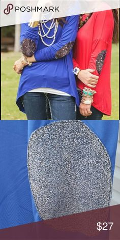 Shimmer elbow patch long sleeve Royal blue high low style stop with long sleeves and shimmer gold elbow patches on it. Tops