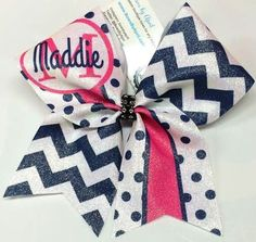 Bows by April - Navy and Pink Chevrons and Polka Dots Customized Name and Initial Cheer Bow, $17.00 (http://www.bowsbyapril.com/navy-and-pink-chevrons-and-polka-dots-customized-name-and-initial-cheer-bow/)