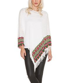 $36.99 Look what I found on #zulily! White & Green Geometric Fringe Poncho #zulilyfinds