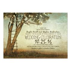 Shop Rustic old tree & string lights wedding invitation created by jinaiji. Rustic Bridal Shower Invitations, Country Wedding Invitations, Rehearsal Dinner Invitations, Engagement Party Invitations, Bridal Shower Rustic, Wedding Rustic, Country Rehearsal Dinners, Night Before Wedding, Save The Date Postcards