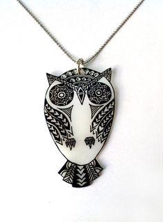Geometric Owl Pendant Necklace Shrink Plastic by PunkTrunkJewelry, $20.00