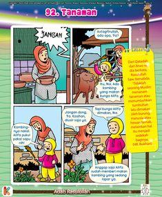 Komik Adab Menanam Tumbuhan Kids Story Books, Stories For Kids, Home Schooling, Kids And Parenting, Muslim, Preschool, Education, Comics, Children