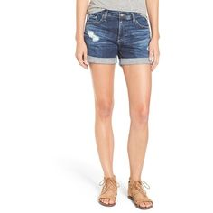 Women's Ag 'Hailey' Denim Shorts ($158) ❤ liked on Polyvore featuring shorts, short jean shorts, frayed denim shorts, denim short shorts, frayed shorts and ag adriano goldschmied