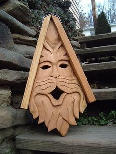 Bird House Hand Carved Cedar Cat Face Wood Spirit - Is this fabulous or what!  Would look great on a tree.