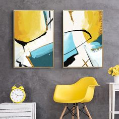 Abstract Color Splash Wall Art Posters Modern Nordic Canvas Paintings Fine Art Prints For Modern Gold Blue Jade Home Interior Decoration Colorful Abstract Art, Geometric Art, Abstract Wall Art, Acrylic Wall Art, Pineapple Art, Yellow Painting, Yellow Canvas Art, Yellow Wall Art, Canvas Art Prints
