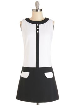 Mod World Dress. In this contemporary world youre a retro-inspired girl, and your throwback of the day is this groovy black and white shift dress.  #modcloth