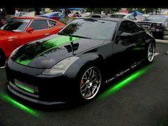 Nissan Nissan with Neon Green Underglow. Bugatti, Lamborghini, Ferrari, My Dream Car, Dream Cars, Radios, Neon Car, Nissan Z Cars, Porsche