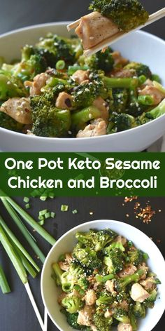 1 pound boneless, skinless chicken breast, cubed 12 ounces broccoli florets ¼ cup coconut aminos, or soy sauce 1 tablespoon avocado oil (I use this brand) 1 teaspoon sesame oil 1 ½ teaspoon arrowroot powder (get it here) 1 clove garlic, minced ½ teaspoon sesame seeds, plus extra for garnish Salt and pepper, to taste Red pepper flakes, for garnish Green onions, sliced, for garnish