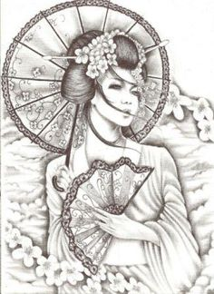 Fantastic Geisha Tattoo Design                                                                                                                                                                                 Más