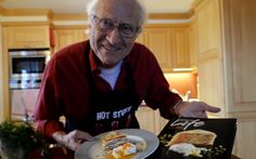 Chef Michel Roux Sr shows how to make a delicous Smoked salmon gateau with   poached egg and lemon from a recipe by Simon Boyle for the book Recipes for   Life