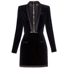 BALMAIN V-neck velvet dress ($3,055) ❤ liked on Polyvore featuring dresses, black, deep v neck dress, v neck cocktail dress, black cocktail dresses, velvet dress and deep v neck black dress