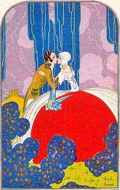 art deco kissing couple. #artdeco #illustration