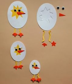 Charmingly Creative: Punch Art Duck, Cracked Egg & Chicken - So cute for a spring craft!