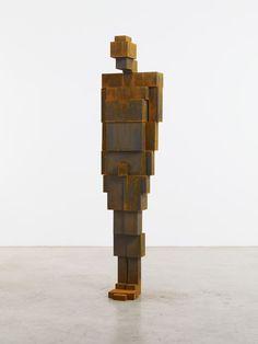 "Antony Gormley [UK] (b 1950) ~ ""BLOCK"", 2010. Cast iron (186.4 x 44.6 x 37.2 cm). | #art #sculpture #figurative"