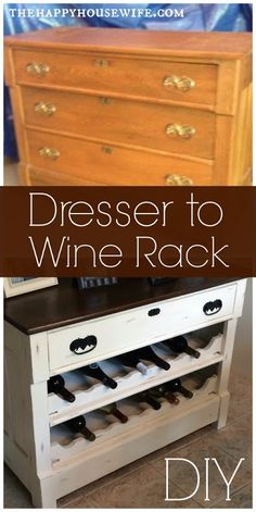 You have to check out this DIY Dresser to Wine Rack project! Anyone can do this one! #DIY http://thehappyhousewife.com/home-management/dresser-to-wine-rack-diy/ #homedecor   #homedesign   #homeimprovement   #wine