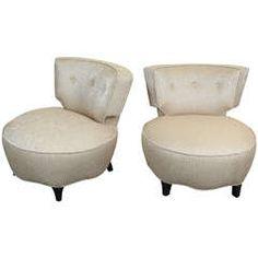 Glamorous Pair of Hollywood Regency Slipper Chairs